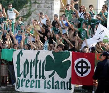 Οπαδοί ΠΑΟ, Corfu Green Island, Παναθηναϊκός, με κελτικό σταυρό