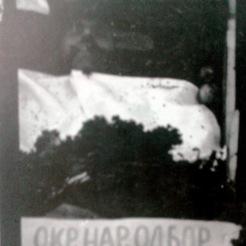 1949-xx-xx - Φλώρινα Κηδεία του μαχητή του ΔΣΕ-05 - Η νεκρώσιμη ακολουθία - Το φέρετρο του νεκρού πριν την ταφή. Η επιγραφή γράφει στα Μακεδονικά Επεσε πολεμώντας για το λαό - 20160708_020141