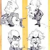 Μια πραγματικά εμπνευσμένη σύνθεση από το περιοδικό Αντί, στο αφιέρωμά του για τα 40 χρόνια ΕΑΜ, λίγες μέρες πριν την άνοδο του ΠΑΣΟΚ στην εξουσία, τχ #187, 25/09/1981. Για όσους δεν έπιασαν το υπονοούμενο, όπως ο πατέρας Ράλλης παρέδωσε στον πατέρα Παπανδρέου το 1944, έτσι κι ο υιός Ράλλης παραδίδει στον υιό Παπανδρέου το 1981. Καταπληκτικό.