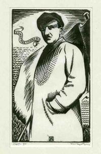 Ο Δημήτρης Γληνός, σε σκίτσο της εποχής.
