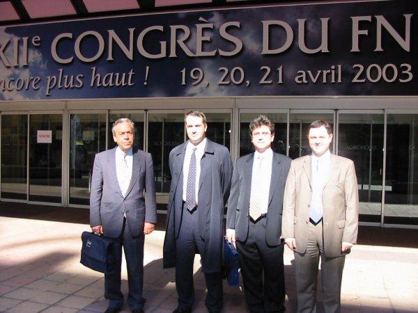 Από αριστερά, Δημήτρης Δημόπουλος, Μάκης Βορίδης, Νίκος Νικολαΐδης, Χρήστος Χαρίτος, 19/04/2003, Συνέδριο Λεπέν.