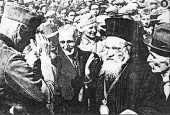 Περιοδικό SIGNAL (ΣΥΝΘΗΜΑ), Μάιος 1941: Επίσκοπος Πατάρων Μελέτιος και ο Δήμαρχος Αλεξανδρούπολης υποδέχονται Γερμανό αξιωματικό