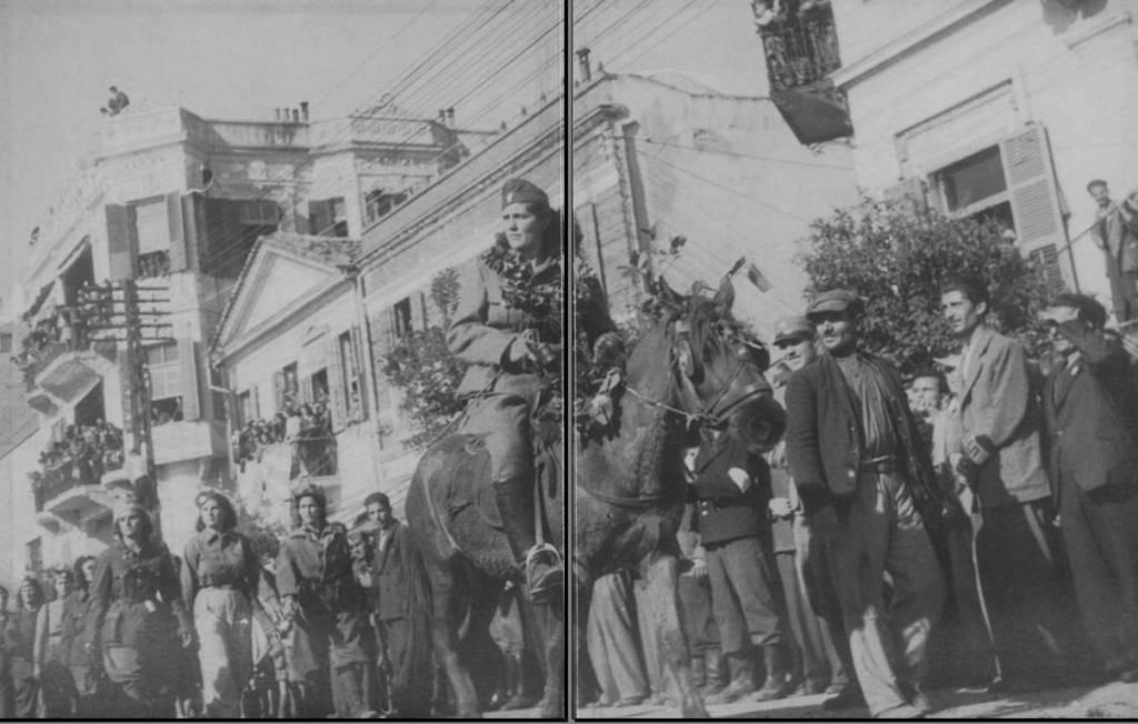 Ανθυπολοχαγίνες του ΕΛΑΣ σε παρέλαση την ημέρα της Απελευθέρωσης