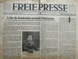 Αφιέρωμα της κομματικής τοπικής εφημερίδας της Νοτιοδυτικής Σαξωνίας Freie Presse (12.2.1949) στην επίσκεψη με κύριο τίτλο: Ζήτω ο δημοκρατικός ελληνικός απελευθερωτικός στρατός! και με φωτογραφία του Υποστράτηγου Λάμπρου