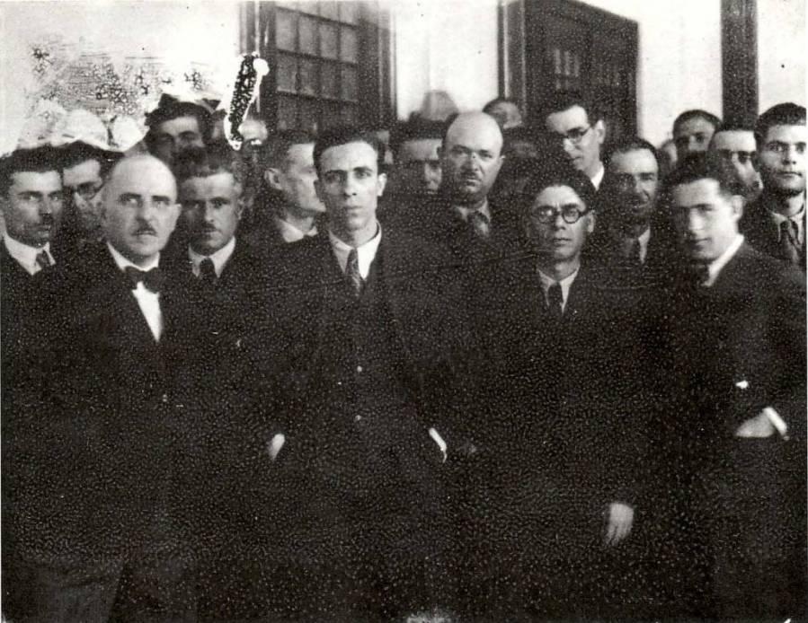 Κοινοβουλευτική ομάδα από το 'Παλλαϊκό Μέτωπο', 1936: Στέλιος Σκλάβαινας, Μήτσος Παρτσαλίδης, Γιώργος Σιάντος κά.
