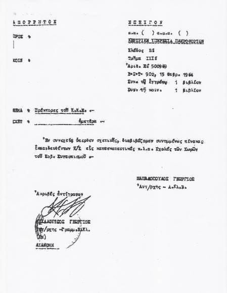 """Το """"απόρρητον και επείγον"""" με θέμα """"Πράκτορες του ΚΚΕ"""". Υπογραφή Αντισυνταγματάρχης (ΠΒ) Γεώργιος Παπαδόπουλος Παπαδοπούλου:"""