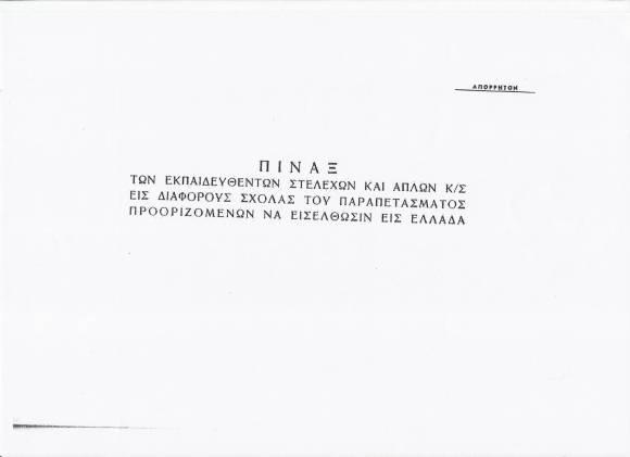 """""""Πίναξ εκπαιδευθέντων στελεχών και απλών Κ/Σ (κομμουνιστοσυμμοριτών) εις διαφόρους σχολάς του Παραπετάσματος προοριζομένων να εισέλθωσιν εις Ελλάδα"""""""