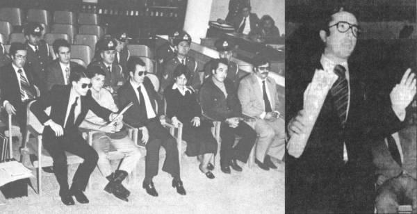 Αριστερά: Ο Κωνσταντίνος Πλεύρης (πίσω αριστερά), ο Αριστοτέλης Καλέντζης (μπροστά αριστερά) και οι υπόλοιποι κατηγορούμενοι στο δικαστήριο για την υπόθεση με τα εκρηκτικά και τις βόμβες, 05/10/1977. Δεξιά: Ο Κωνσταντίνος Πλεύρης ενώ αγορεύει και αρνείται τις κατηγορίες.