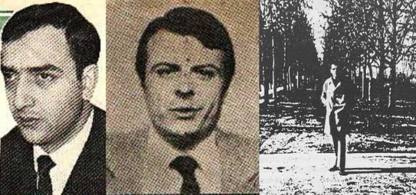 Σπύρος Σταθόπουλος (αριστερά, πέθανε το 2012), Θεόδωρος Καραμπέτσος (κέντρο, πέθανε το 2014) σε φωτογραφίες του 1976 και Γιώργος Βεντούρης (δεξιά) σε φωτογραφία του 1969.