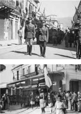 1944-09-06 - Καλαμάτα Οδός Αριστομένους 6 - Παρέλαση Τάγμα Ασφαλείας Καλαμών με διοικητή Νικόλαος Θεοφάνους Ανθυπολοχαγός Πεζικού (πρώτος αριστερά)