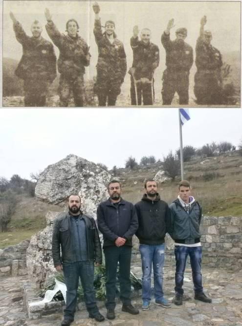 ΕΠΑΝΩ: Βλασένιτσα, αρχές του 1995: Χρυσαυγίτες Ελληνες εθελοντές της ΕΕΦ, Μπέλμπας Απόστολος, Μαυρογιαννάκης Μιχάλης, Σωκράτης Κουσουμβρής, Κώστας και άλλοι. ΚΑΤΩ: Η ηγεσία της τοπικής οργάνωσης Τρίπολης της Χρυσής Αυγής. Ο γραμματέας της ΤΟ Τρίπολης της Χρυσής Αυγής, Μπέλμπας Απόστολος, δεύτερος από αριστερά.