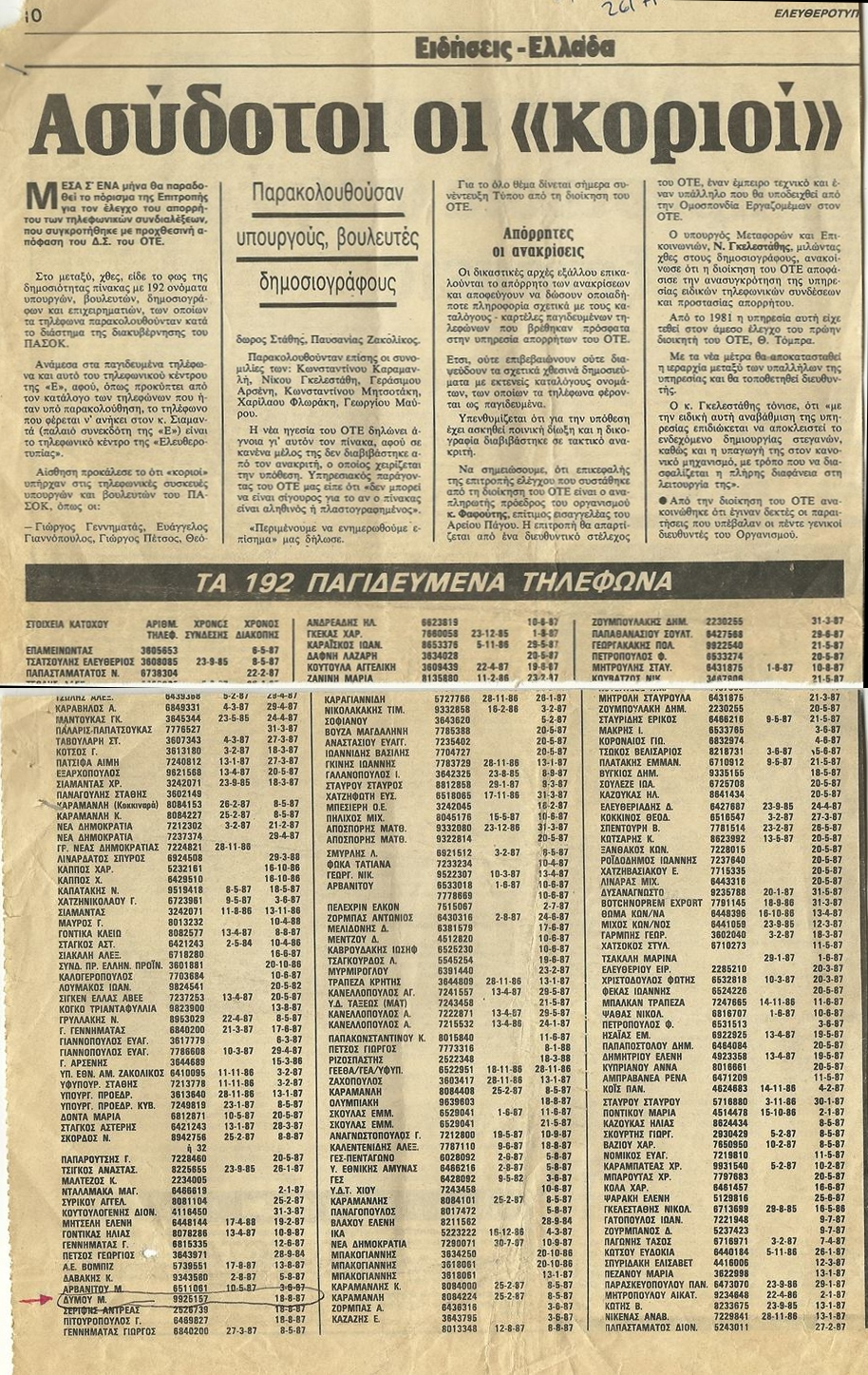 Ελευθεροτυπία 26/07/1989: Ασύδοτοι οι κοριοί: Λίστα ονομάτων