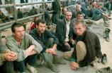 August 1992, Manjaca, Bosnia and Herzegovina --- Prisoners of War in Serbian Military Camp --- Image by © Isabel Ellsen/Corbis