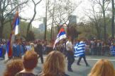 Ιούνιος 1995, Βελιγράδι, Παρέλαση Ελλήνων Χρυσαυγιτών με ελληνικές σημαίες, γιορτάζουν την επέτειο της μάχης του Κοσσυφοπεδίου μαζί με Σέρβους ομοϊδεάτες τους