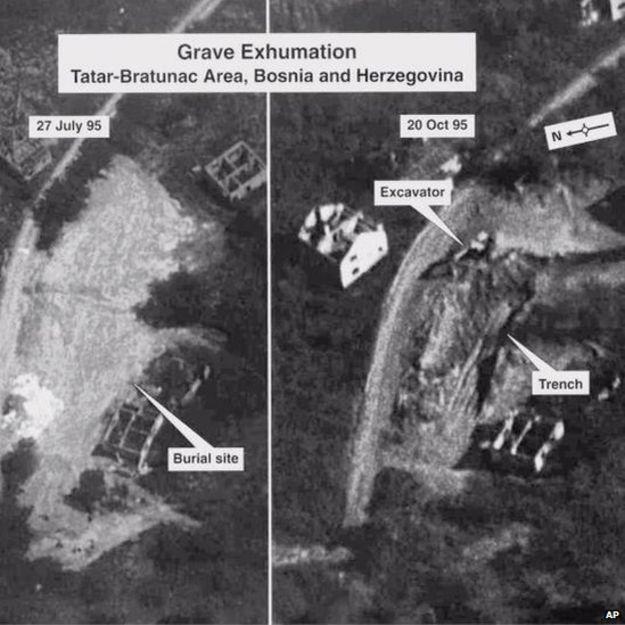 Περιοχή Bratunac, Σρεμπρένιτσα Βοσνίας. Μαζικοί τάφοι. Φωτογραφία από δορυφόρο, από τις δικογραφίες του International Criminal Tribunal at the Hague. Σε όλη την κοιλάδα βρίσκονταν διάσπαρτα προσωπικά αντικείμενα και απομεινάρια ρούχων [Σ.Σ.: των αιχμαλώτων και των άοπλων Βόσνιων]. Δεν υπήρχαν πτώματα· προφανώς τα όρνεα θα είχαν εξαφανίσει τυχόν ανθρώπινα υπολείμματα, από τότε», δήλωσε ο Jamie Adam, από το Κέντρο για δράση εναντίον των Ναρκών των Ηνωμένων Εθνών για τη Βοσνία-Ερζεγοβίνη (UN Mine Action Centre for Bosnia-Hercegovina). Από εδώ είχαν περάσει και οι Ελληνες εθελοντές με τον διοικητή τους Ζβόνκο Μπάγιαγκιτς, και τραβούσαν φωτογραφίες, ακριβώς εκείνες τις ώρες της 13ης Ιουλίου 1995.