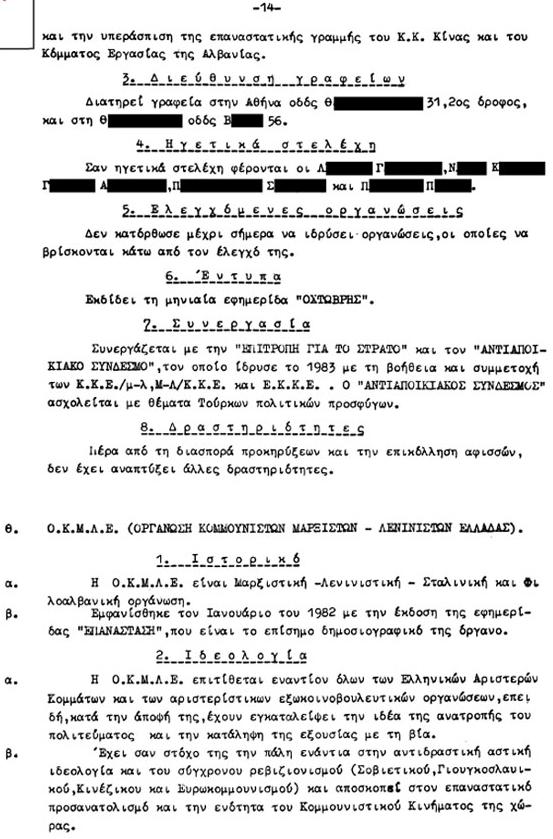 Απόρρητη έκθεση της Ασφάλειας, 1983 - Πως φακέλωναν κόμματα και εξωκοινοβουλευτικές οργανώσεις (4/6)