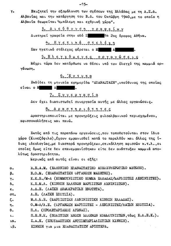 Απόρρητη έκθεση της Ασφάλειας, 1983 - Πως φακέλωναν κόμματα και εξωκοινοβουλευτικές οργανώσεις (5/6)