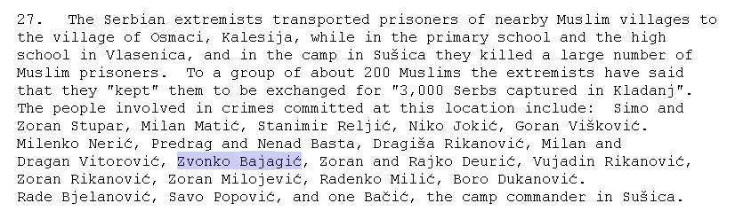Τα πρώτα κατορθώματα του Ζβόνκο Μπάγιαγκιτς. Εκτελέσεις αμάχων στη Βλασένιτσα. Από την έκθεση με τίτλο: English Human Rights Committee, Report on Bosnia Herzegovina, Document submitted in compliance with a special decision of the Committee, 30/10/1992, σελίδα 8.