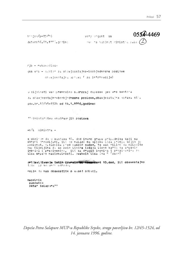 Σελίδες 21 και 57 της σερβικής έκδοσης ή σελίδες 25 και 64 της αγγλικής έκδοσης. Από την έκθεση της οργάνωσης Humanitarian Law Center, με τίτλο 'Dossier The 10th Sabotage Detachment of the Main Staff of the Army of Republika Srpska', έκδοση Humanitarian Law Center, Αύγουστος 2011. Ο επικεφαλής των μυστικών υπηρεσιών του στρατού της Σερβοβοσνιακής Δημοκρατίας Petar Salapura ζητούσε επιτακτικά από τον υπουργό Εσωτερικών (MUP) της Republika Srpska να μεριμνήσει ώστε να εκδοθούν πλαστές ταυτότητες για τους αλλοεθνείς που ήταν μέλη του 10ου Αποσπάσματος Σαμποτάζ ή για όσους καταζητούνταν, ώστε να φυγαδευτούν στην Σερβία.