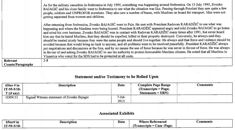 International Criminal Tribunal for the former Yugoslavia ICTY, κατάθεση (Witness Summary) του Ζβόνκο Μπάγιαγκιτς υπέρ Κάρατζιτς, 08/07/2013, σελ. 5: Σημειώνει ο Κάρατζιτς: «Κάτι συνέβαινε στην Σρεμπρένιτσα στις 13 Ιουλίου 1995, όταν ο Μπάγιαγκιτς πήγε εκεί για να δει πως είχε η κατάσταση. Ο Μπάγιαγκιτς και οι συνοδοί του, περνώντας από το Potocari, είδαν Σέρβους στρατιώτες, Κυανόκρανους και κάποιο κόσμο. Είδαν επίσης αρκετά λεωφορεία με Μουσουλμάνους, έτοιμους για μεταφορά».