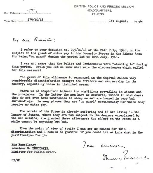 British Police and Prison Mission, Επιστολή προς Υπουργό Δημόσια Τάξεως Σπύρο Θεοτόκη, 01/08/1946. In English.