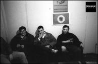 Στα γραφεία της Χρυσής Αυγής, Μιχαλολιάκος, Παππάς, Περίανδρος και άλλοι, κάτω από τη σημαία με τον ρούνο Wolfsangel, το έμβλημα της 4ης Polizei Division των SS, που ήταν υπεύθυνη για τις σφαγές αμάχων σε Δίστομο και Κλεισούρα, Φωτογραφίες Nicos Economopoulos, Magnum Photos http://www.magnumphotos.com/Asset/-2TYRYDIX21B4.html