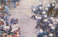 Οδομαχίες με ΜΑΤ σε παράταξη, Δεκέμβριος 1990. Πανοραμική λήψη από ψηλά.