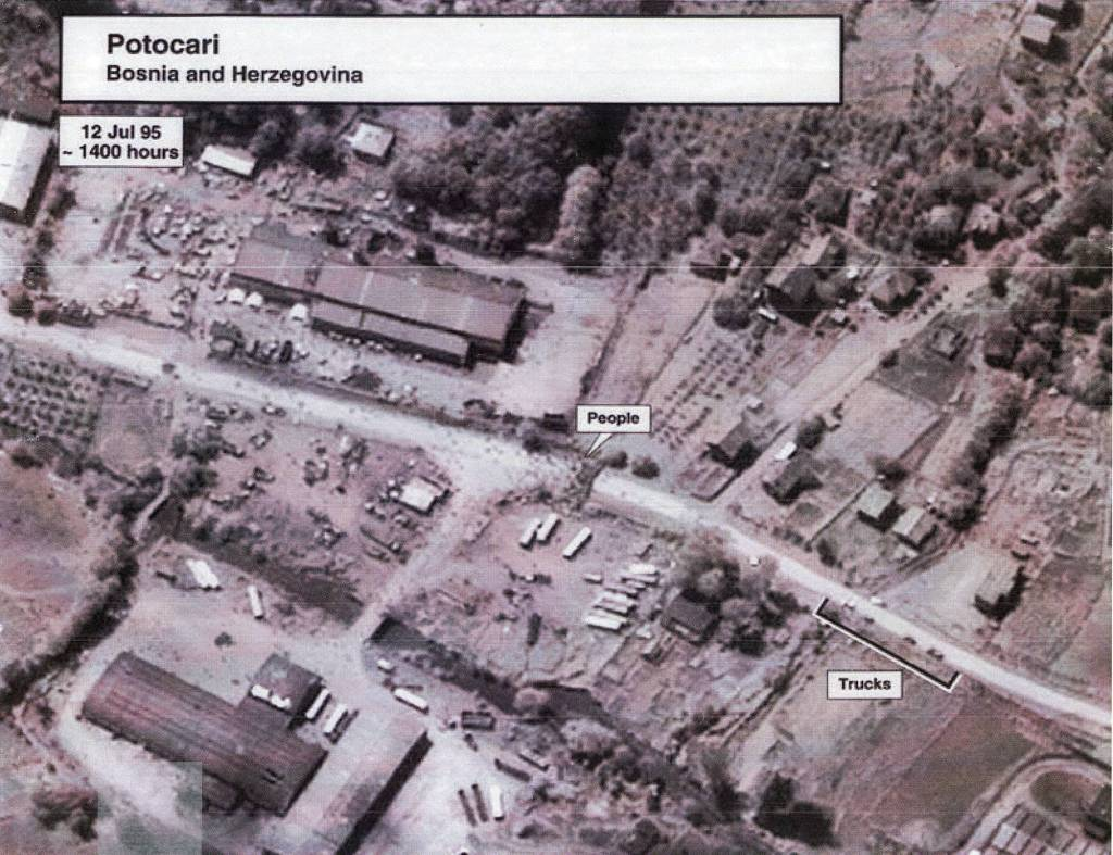 Image 1 Date: July 12, 1995 Subj: Potocari: Bosnia and Herzegovina Author: U.S. National Geospatial Intelligence Agency Source: National Security Archive FOIA Request This overhead surveillance photographic image from July 12 1995 shows a group of people assembled near a roadway in Potocari, a town near Srebrenica, within the 'safe area' enclave.