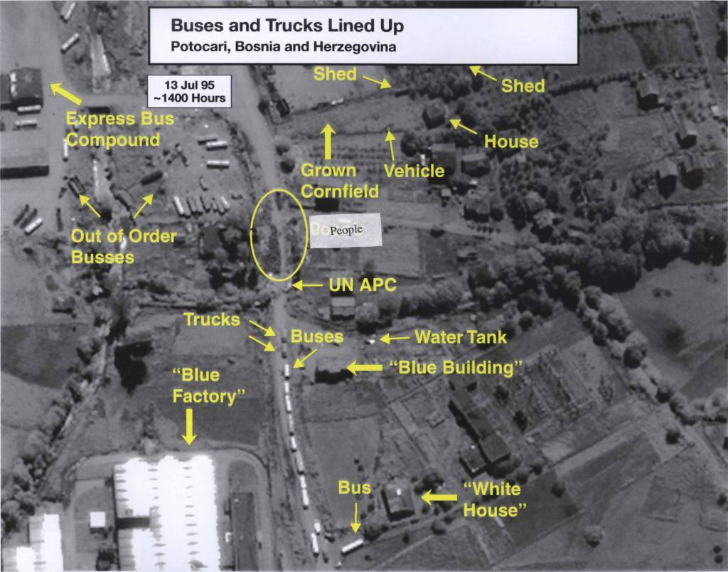 Image 5 Date: July 13, 1995 Subject: Buses and Trucks Lined Up, Potocari, Bosnia and Herzegovina Author: U.S. National Geospatial Intelligence Agency Source: International Criminal Tribunal for Yugoslavia (ICTY) This document, (a zoomed in version of Image 2) shows the lines of buses and trucks on the road outside of the UN base.