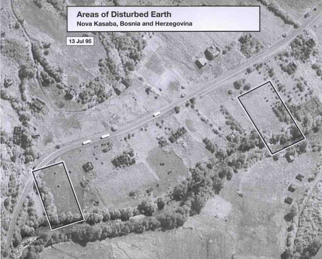 Date: July 13, 1995 Subject: Areas of Disturbed Earth, Nova Kasaba, Bosnia and Herzegovina Author: U.S. National Geospatial Intelligence Agency Source: International Criminal Tribunal for Yugoslavia (ICTY) This image taken on July 13, 1995 shows the 'before' image of the July 27, 1995 'after' image that shows areas of disturbed earth.
