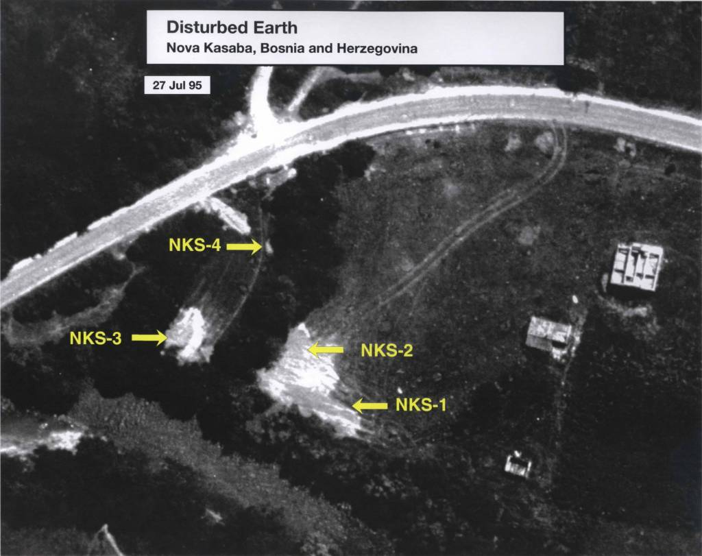 Image 6 Date: July 27, 1995 Subject: Disturbed Earth: Nova Kasaba, Bosnia and Herzegovina Author: U.S. National Geospatial Intelligence Agency Source: International Criminal Tribunal for Yugoslavia (ICTY) Overhead surveillance of disturbed earth signaling the location of mass graves where Srebrenica victims were buried. This is a close up of the left section marked on Image 7.