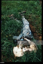 Μια συγκλονιστική φωτογραφία από μαζικό τάφο, πριν την ανασκαφή του, Μάιος του 1996. Τα υπολείμματα από το πτώμα ενός εκτελεσμένου. Διακρίνονται τα οστά της λεκάνης του και το παντελόνι με τα παπούτισα, τα οποία δεν έχουν λειώσει (The remains of a slaughtered man lies in a mass gravesite where Serb forces attacked in Srebrenica, Bosnia and Herzegovina). Credit: Scott Peterson και Getty Images.