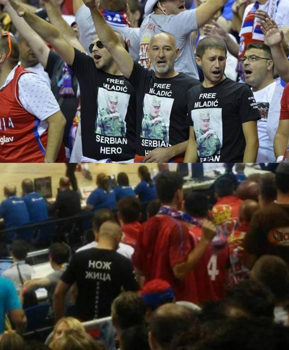 Eurobasket στο Βερολίνο, 09/09/2015. Σέρβοι ανεγκέφαλοι εθνικιστές οπαδοί. Οι μπλούζες του γράφουν μπροστά 'Free Ratko Mladic A Serbian Hero' και πίσω 'Noz, zica, Srebrenica' ('Μαχαίρι, Σύρμα, Σρεμπρένιτσα').