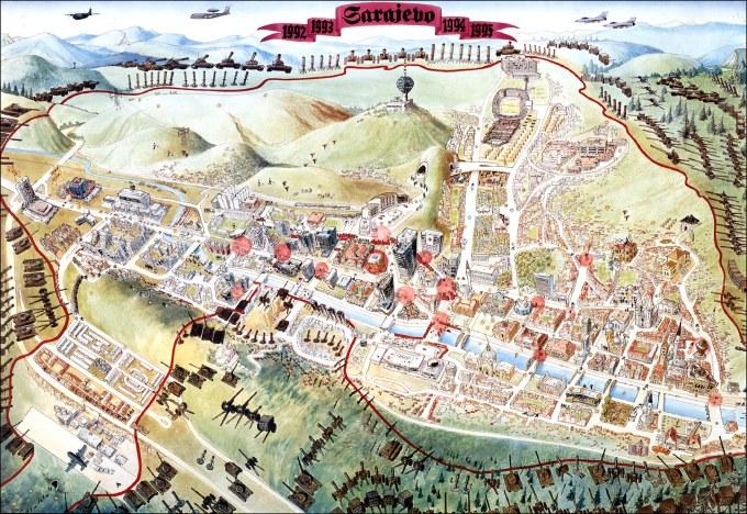 Ο διάσημος χάρτης της πολιορκίας του Σαράγεβο, 1992-1996. Στην περίμετρο του Σαράγεβο, 60 χιλιόμετρα συνολικά, είχαν στηθεί 2.100 πυροβόλα. Ενα πυροβόλο κάθε 30 μέτρα. Σύμφωνα με τον Λεωνίδα Χατζηπροδρομίδη, Αυγή 06/08/1995, αναλογούσαν 7 οβίδες σε κάθε κάτοικο της πόλης. Οι διεθνείς παρατηρητές του ΟΗΕ υπολόγισαν ότι η πόλη δέχτηκε τουλάχιστον 480.000 βλήματα κάθε είδους, από κατευθυνόμενους πυραύλους Maljutka μέχρι γομωμένες οβίδες και μεταποιημένες βόμβες ('πριόνια') και αντιαεροπορικά για τις βολές ρουτίνας, δηλαδή 430 κατά μέσο όρο την ημέρα για τα πρώτα δύο χρόνια, και 330 μέσο όρο συνολικά. Αποτέλεσμα, στις 1.460 ημέρες πολιορκίας (από 05 Απριλίου 1992 μέχρι 29 Φεβρουαρίου 1996), μετρήθηκαν 10.000 ολοσχερώς κατεστραμμένες κατοικίες και 100.000 με διαφόρων ειδών ζημιές, το 23% των υπόλοιπων κτιρίων με σοβαρές ζημιές και το 64% με μικρότερες, 298 βόμβες μόνο στο νοσοκομείο με αποτέλεσμα τον θάνατο 49 ατόμων από το ιατρικό προσωπικό το οποίο είχε να περιθάλψει καθημερινά 5-15 τραυματίες μόνο από βολές σνάιπερ, οι οποίοι έριξαν τουλάχιστον στο 40% των περίπου 70.000 παιδιών της πόλης, 8.000 εξορμήσεις της Πυροσβεστικής και πάνω από 150.000 πρόσφυγες, διότι η μέση ημερήσια ποσότητα φαγητού ανά άτομο ήταν μόλις 159 γραμμάρια και νερό -το οποίο πουλιόταν στη μαύρη αγορά, 10 γερμανικά μάρκα τα 30 λίτρα- υπήρχε μόνο στο 2% του συνολικού χρόνου της πολιορκίας, γεγονός που οδήγησε σε επιδημία τύφου και άλλων νόσων. Φυσικά, η χειρότερη συνέπεια της πολιορκίας ήταν ότι μετρήθηκαν όχι λιγότεροι από 11.541 νεκρούς, εκ των οποίων 1.601 παιδιά, και 57.000 τραυματίες, εκ των οποίων 14.888 παιδιά, ανάμεσά τους 3.378 με βαριά τραύματα και 355 με μόνιμη αναπηρία. Στην πολιορκία του Γκόραζντε, πάλι, ο φόρος αίματος ήταν 4.500 νεκροί άμαχοι στις 1.300 μέρες πολιορκίας. Το ψωμί στις πολιορκημένες πόλεις έφτασε να κοστίζει 250 γερμανικά μάρκα το κιλό.