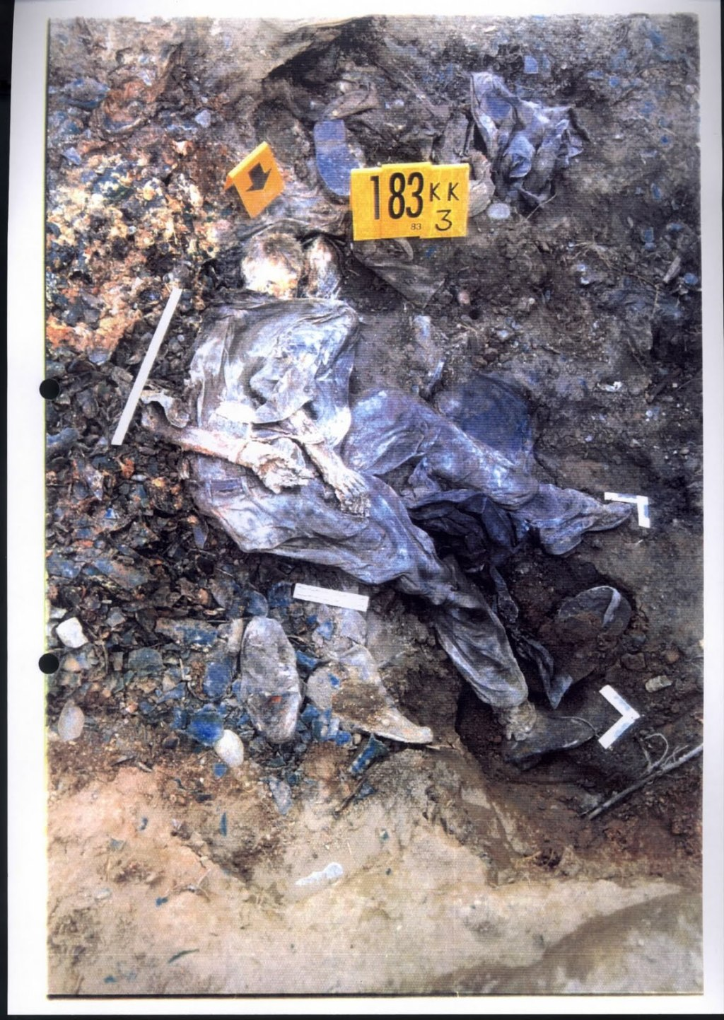 Exhibit P128-24 from Krstic trial - Srebrenica victims had their hands tied before executions - A full view of one victim who was systematically executed and dumped into mass graves