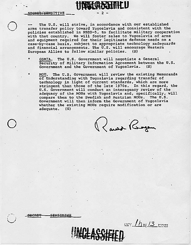 Απόρρητο έγγραφο: «Το συμφέρον των ΗΠΑ είναι μια σταθερή, ενωμένη και ακέραια Γιουγκοσλαβία». National Security Decision Directive 133, με θέμα 'United States Policy towards Yugoslavia', 14/03/1984.