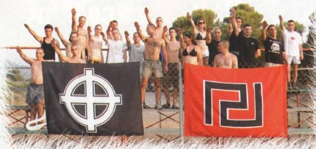 Εθνικιστική Κατασκήνωση 2007. Ναζιστικός χαιρετισμός. Κασιδιάρης, Δεβελέκος, Ηλιόπουλος, κι άλλος Κασιδιάρης κά