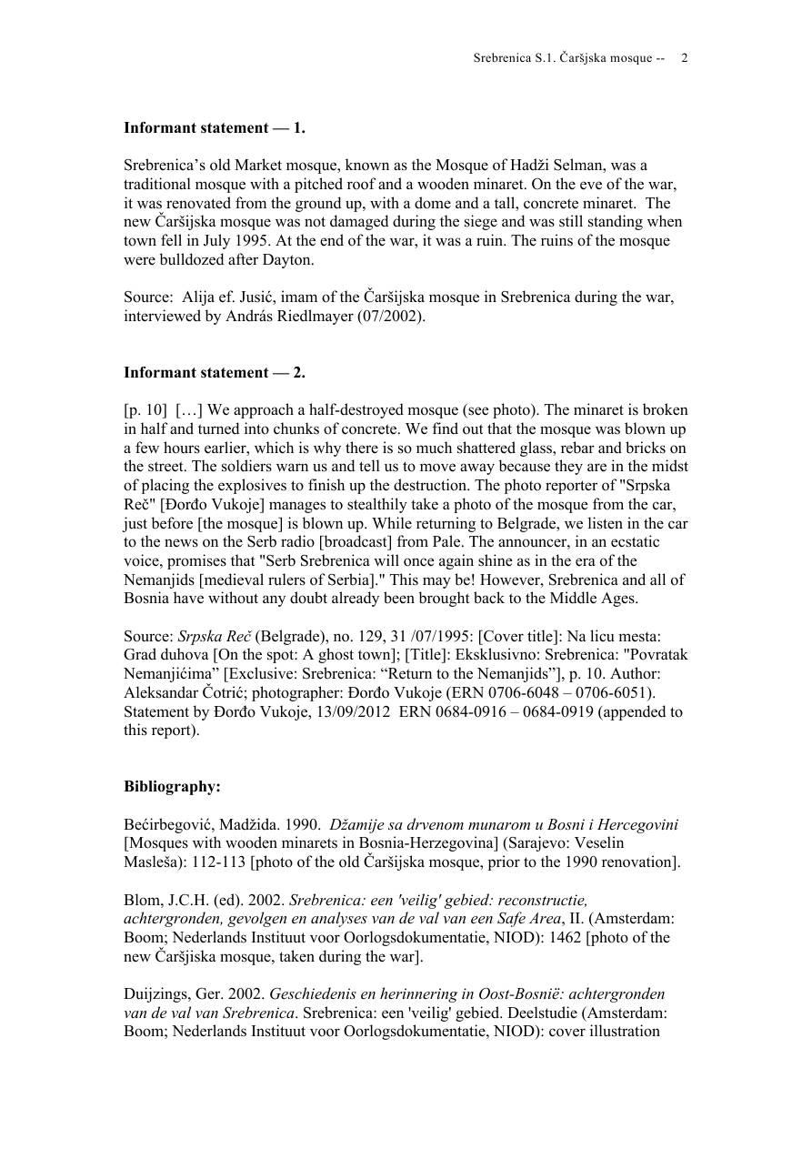Andras Riedlmayer - Report S1 on Carsijska Mosque in Srebrenica [October 2012] - Mladic-Srebrenica-S1 Carsijska-02