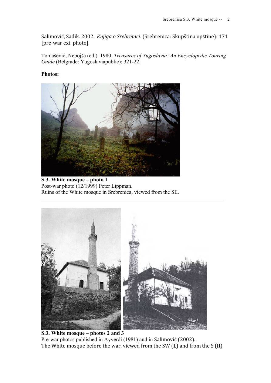 Andras Riedlmayer - Report S3 on White Mosque Bijela dzamija (Hadzi Skender-begova dzamija Mosque of Hadzi Skender Beg) in Srebrenica [October 2012] - Mladic-Srebrenica-S3 White-02