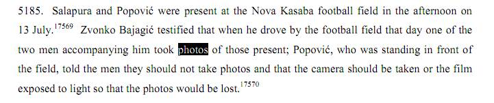 Από την ετυμηγορία εναντίον Κάρατζιτς, 24/03/2016, σελίδα 2144. Η περιγραφή του γεγονότος με την ΕΕΦ, την κάμερα, τον Μπάγιαγκιτς και τον Popovic.