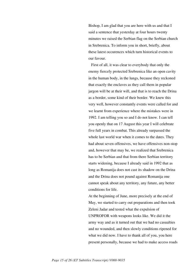 [International Criminal Tribunal for the former Yugoslavia ICTY] - Srebrenica Trial Video Identification, transcripts and sources [ICTY 2011] - Λόγος Zivanovic 1995-07-12 στο σπίτι Zvonko Bajagic-257