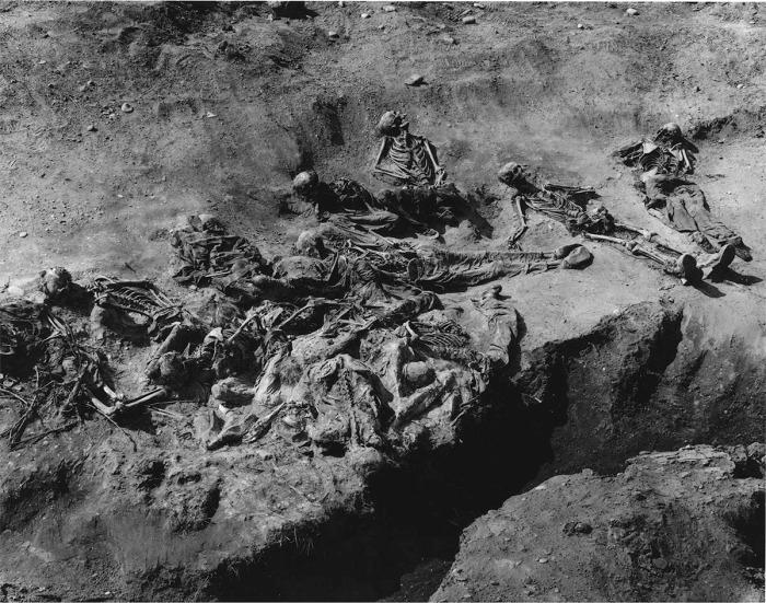 Συγκλονιστική φωτογραφία του forensic photographer Tim Loveless με όνομα 'Excavations 1996'. Αυτό το θέαμα αντίκρυσαν οι ανθρωπολόγοι που έψαχναν μαζικούς τάφους. Φέτος, στην καθιερωμένη τριήμερη πορεία δεκάδων χιλιάδων ανθρώπων με κατάληξη το μνημείο στο Potocari, για να τιμήσουν τη μνήμη των δολοφονημένων, άλλα 127 θύματα θα προστεθούν στο νεκροταφείο, με το μικρότερο στην ηλικία των 14 ετών. Μαζί του, ο παππούς του, 77 ετών τότε και ο εξάδερφός του, 16 ετών. Οι συγγενείς θάβουν τους ανθρώπους τους 'σε δόσεις', πολύ συχνά με ένα ή δύο οστά μόνο. Διαβάστε στη συνέχεια την ιστορία της μητέρας που έχασε 22 μέλη της οικογένειάς της, με το κουτάκι κρέμα NIVEA, όπως και της συγχωριανής της που έθαψε μόνο έξι οστά ή θραύσματα τα οποία είχαν βρεθεί σε πέντε διαφορετικούς μαζικούς τάφους, με απόσταση 32 χιλιομέτρων μεταξύ τους. Στην Ελλάδα φέτος, σχεδόν κανείς δεν θυμήθηκε την επέτειο, με τη φωτεινή εξαίρεση του κόμματος 'Πράσινοι-Αλληλεγγύη'. Η αλήθεια, όμως, -και συγχωρέσετε μας την παρομοίωση εδώ-, όπως και τα δεμένα με χειροπέδες οστά των αδικοχαμένων, και ειδικά των αθώων παιδιών, πάντοτε θα ξεπροβάλλει από το έδαφος και από όπου αλλού προσπαθούν κάποιοι να την κρύψουν.
