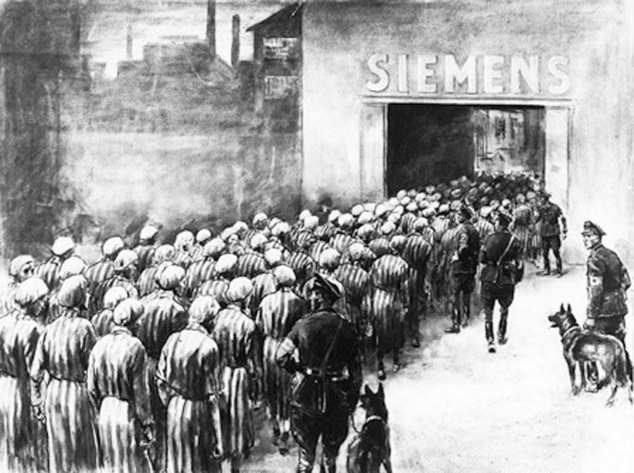 Εργάτες στα εργοστάσια της Siemens, καταδικασμένοι σε θάνατο, ούτως ή άλλως. Εργο του Rudolf Lipus (1893-1961) με τίτλο 'Les deportes contraints au travail chez Siemens, 1943' του 1959 (Crayon). Πηγή: Bildarchiv Preussischer Kulturbesitz 1959.