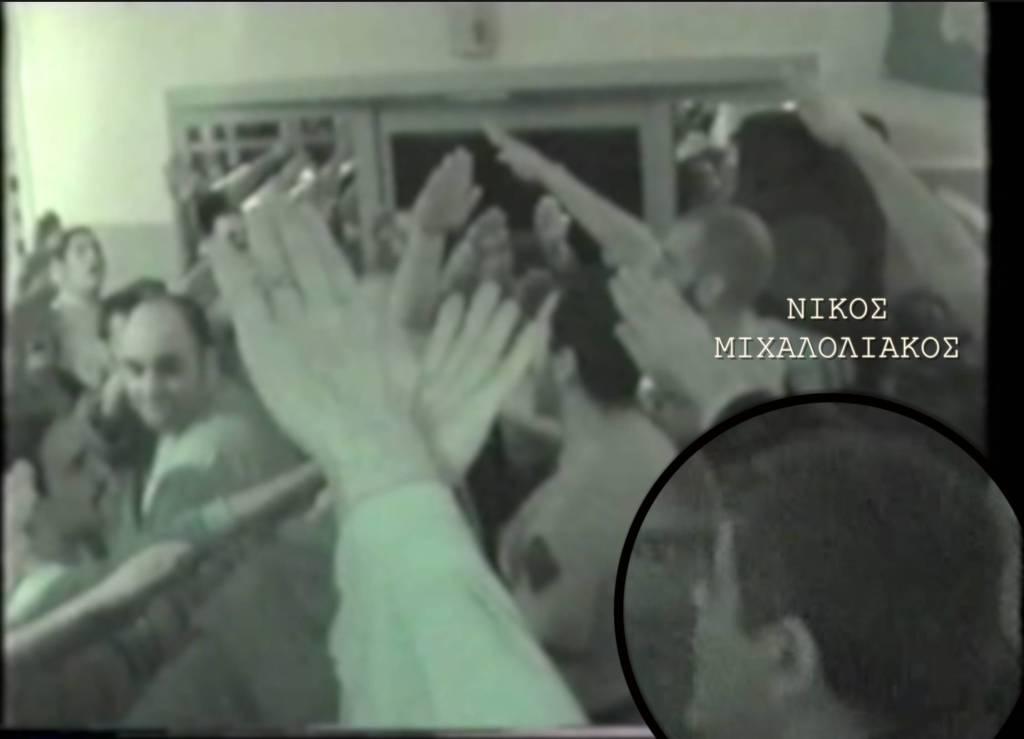 Νίκος Μιχαλολιάκος σε χιτλερικό χαιρετισμό Sieg Heil την ώρα του ύμνου της ΧΑ.