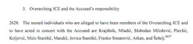 Ο ο Μιλόσεβιτς αναφέρεται πάλι σαν μέλος της JCE. Πηγή: ICTY, Karadzic Judgment, 24/03/2016